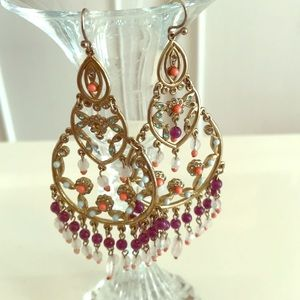 Chandelier gold and purple earrings